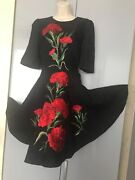 Women's Dolce And Gabbana Black Embroidered Dress Size 44