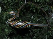 Rare Antique German Christmas Ornament Mouth Blown Swan, Colorful Filament Glass