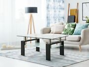 Rectangle Clear Glass Coffee Table Shelf Living Room Furniture Side Center Table