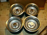 Set - 4 Chevrolet Truck 15x8 Rally Wheels 5 Lug Gm Bands And Centers Squarebody