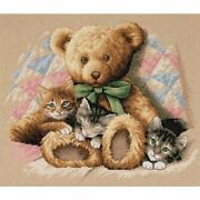 Dimensions And039teddy And Kittensand039 Counted Cross Stitch Kit 14 Count Beige Aida 14...