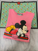 Disney Oversize Mickey Mouse Sweat Tops Size S Pink Cotton And White Set