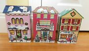 Lot Of 3 Winter Christmas Village Houses Embossed Metal Tin Containers W/covers