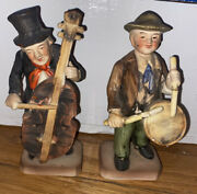 """Vintage Set Of 2 6"""" Chase Hand Painted Made In Japan Figurines With Instrument"""