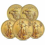 Lot Of 5 - 2021 1/4 Oz Gold American Eagle 10 Coin Bu Type 2