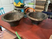 Pair Of Early Antique Primitive Old Wooden Bowls Plantation Made Early-mid 1800s