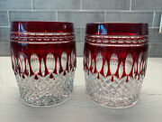 Waterford Crystal Clarendon Ruby Red Tumbler/highball Glass Pair Excellent