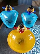 Murano Glass Clowns With Candy Dish. All 3.