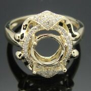Solid 14k Yellow Gold 7.5-8mm Round Natural Si/h Diamond Wedding Semi Mount Ring