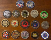 Lot Of 17 Military Challenge Coins All Pre-owned All Assorted Rare Collection