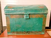 Antique Toleware Tin Hand Painted Treasure Chest Green Gold Celtic Decoration