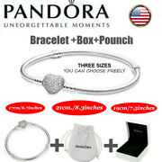 Silver Pandora Chain Bracelet Heart Clasp Charm Snake Jewelry Woman Gift And Box