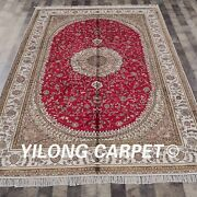 Yilong 6and039x9and039 Handknotted Silk Rug Living Room Home Furniture Red Carpet Y416c