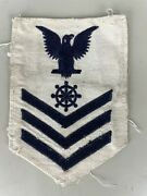 Wwii Us Navy Rate White 1st Class Quartermaster Cloth Patch Authentic Used