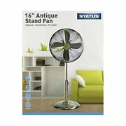 Statusandndashoscillating Antique Brass Standfan16andprime 3 Speed Setting-fastandfree Delivery