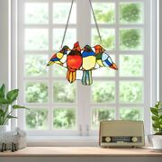 14.5 Stained Glass Birds Window Panel Hangings With Chain Outdoor Home
