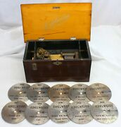 Early Swiss Made Edelweiss Key-wind Disc Playing Music Box W/ 10 Metal Discs