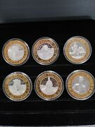 Lot Of 6 .999 Pure Silver Casino Gaming Tokens