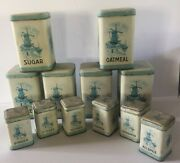 Set Of 12 Blue And White Kitchen Canister Spice Tins Windmills And Sailboats Vintage