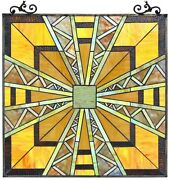 25.7 X 24.7 Transitional Mission Style Stained Glass Window Panel