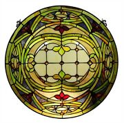 24 X 24 Style Stained Glass Floating Passion Round Window Panel