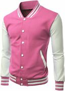 Xpril Menand039s Stylish Color Contrast Long Sleeves Varsity Jacket