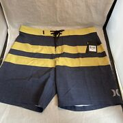 Hurley Menandrsquos Summer Swim Board Shorts-size 34 18andrdquo Navy Blue/yellow New/free Ship