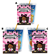 Girl Baby Boss Pink Capri Sun Labels Birthday Party Favors Black African Suns X
