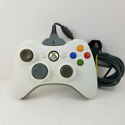 Microsoft Xbox 360 White Wireless Controller W/ Charging Cable Tested