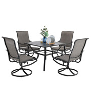 Patio Table Chairs Sets Outdoor Rocker Swivel Dining Chair Square Table Set Of 5