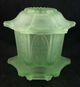 Frosted Depression Green Glass Fairy Lamp Candle Holder Not Uranium 2 Piece