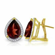 Genuine Garnet Pear Gemstones And Diamonds French Clip Earrings In 14k. Solid Gold