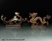 Collect Folk Old Dynasty China Bronze Silver Gilt Dragon And Phoenix Statue Pair