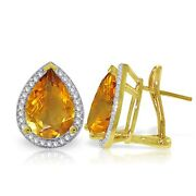 Genuine Citrine Pear Gemstones And Diamonds French Clip Halo Earrings In 14k. Gold