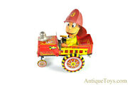 Linemar Marx Tin Litho Windup Mechanical Fire Chief Crazy Action Fire Truck