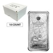 Lot Of 10 - 2021 St. Helena 10 Oz East India Company Silver Coin Bar .999 Fine