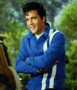 Mens Vintage Red And Blue Elvis Presley Speedway With Stylish White Strips Cotton