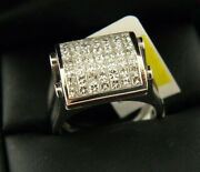 Natural Diamond And Sapphire Two Side Ring In 14k White Gold Sz 7.25 1.5 Tcw