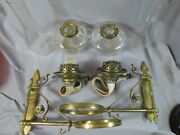 Superb Antique Rare Pair Of Victorian Cast Brass Wall Oil Lamps Wright And Butler