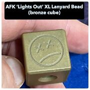 Andy Frankart Afk And039lights Outand039 Bronze Cube Lanyard Bead - Thick And Heavy