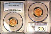 1929 D 1c Pcgs Ms 65 Rd- Lincoln Cent