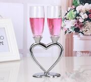 2pcs Set Heart Silver Plated Flutes Wine Glass Cup Crystal For Wedding Toasting