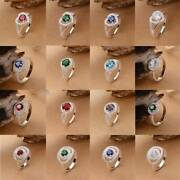 Gorgeous 925 Silver Round Heart Crystal Zircon Ring For Women Wedding Jewelry