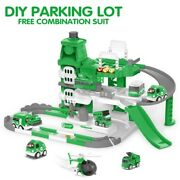 Xmas Gift Military Race Tracks For Kids Deluxe Garage W/ Soundmelody Music