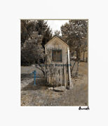 Brown Blue Vintage Outhouse Water Pump Farmhouse Photography Matted Artwork