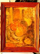 Vintage Oil On Canvas Boards Painting Still Life Fruits Bottles Signed Stridlay