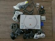 Ps1 Sony Playstation 1 Console Bundle With 4 Controllers Memory Cards Game Shark