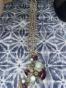 Vintage Miriam Haskell Gold And Pearl Necklace Signed With Purple Glass Beads