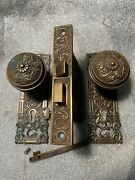 Antique Collectible Reading Hardware Co. Dolphins Lock Backplates Knobs And Key
