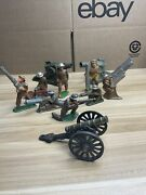 Vintage Barclay Manoil Lead Army Cannon Gunner Missile Launcher Soldier Toy Lot